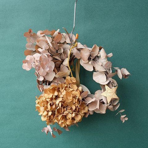 Dry plants for decor ユーカリリースベージュミックス(銀丸葉+ドライアジサイほか)